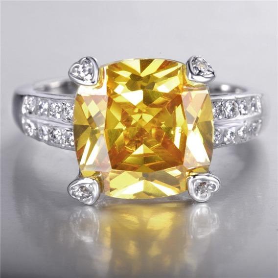 Dia Dos Namorados Anel C/topázio, Diamantes, Ouro Branco 14k