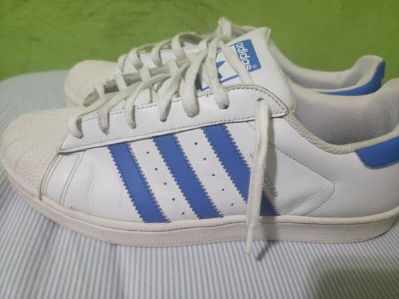 Zapatilla adidas Súper Star Celeste Con Blanco Talle 41