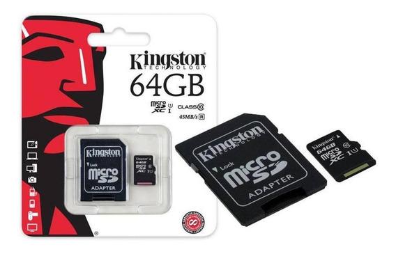 Cartão De Memória Kingston 64gb Micro Sd Com Adaptador Sd