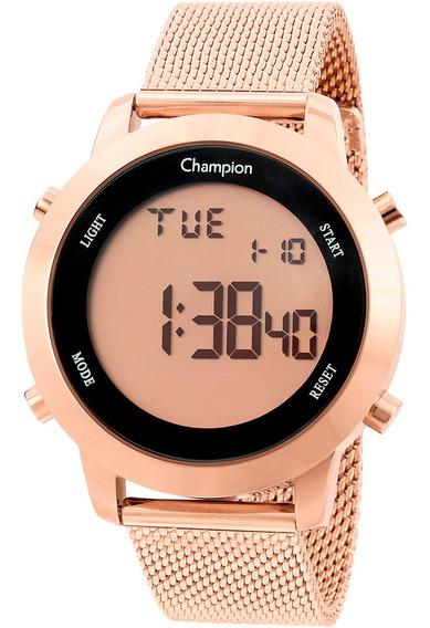 Relógio Champion Digital Rodondo Pulseira Corrente Ch40062x
