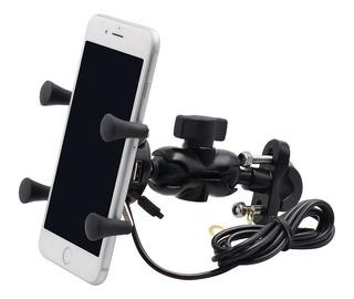 Soporte Porta Celular Manillar Espejo Moto Toma Cargador Usb