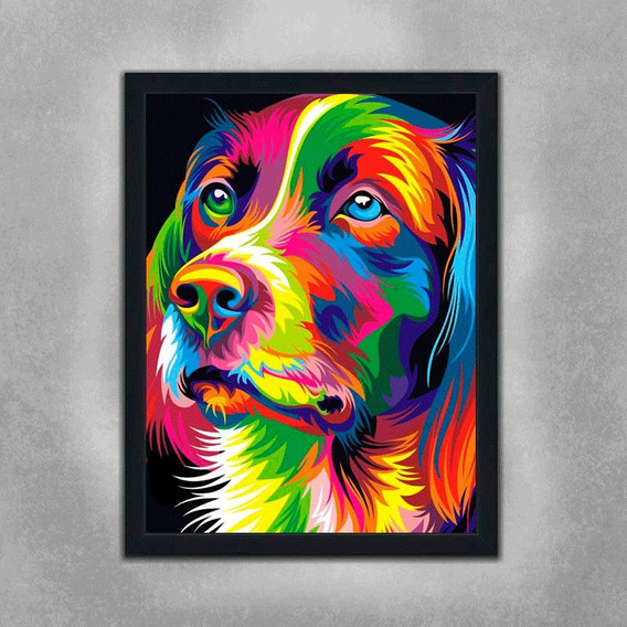 Quadro Abstrado Cachorro 90x60cm Pronto P/ Pendurar