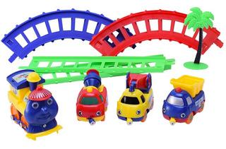 Tren Infantil Con Movimiento + Vias Y 3 Vehiculo Duende Azul