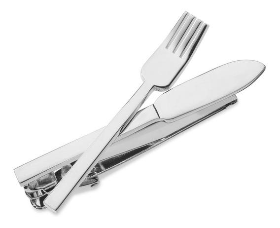Pisacorbata Tenedor & Cuchillo Plateados Mesero Restaurante