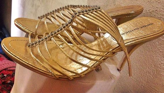 Sandália Dourada Salto Alto 38 Vazada Spot Shoes
