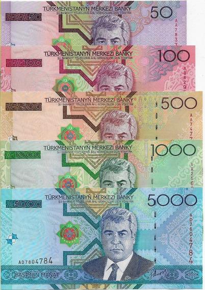 Turcomenistão 50/100/500/1000/5000 Manat 2005 Fe