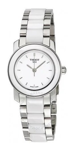 Relógio Tissot Feminino T-trend Branco/cerâmico Aço/cinza