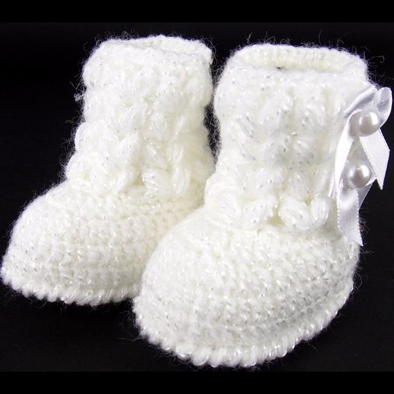 Botinha De Crochê Para Bebê Rn Recém-nascido Modelo Lacinho