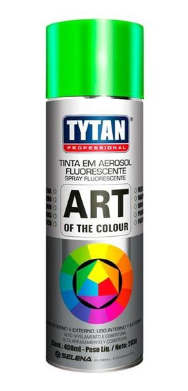 Tinta Spray Fluorescente Verde Uso Geral 400ml-tytan-40665