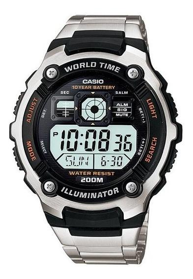 Relogio Casio Ae-2000wd-1a 5alarm Wr200m Luz Original Aço