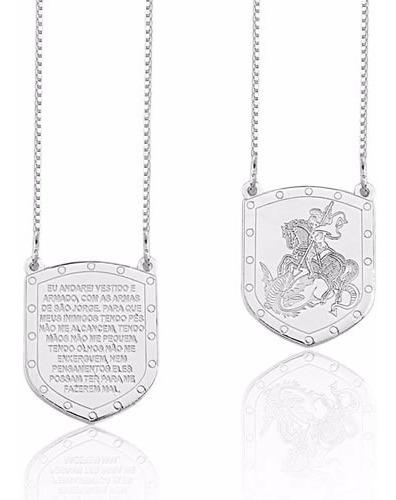 Escapulário Escudo São Jorge Oração (00034) Prata 925