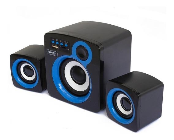Caixa De Som Subwoofer Kp-6011 2.1 Canais 16w Azul - Kp-6011