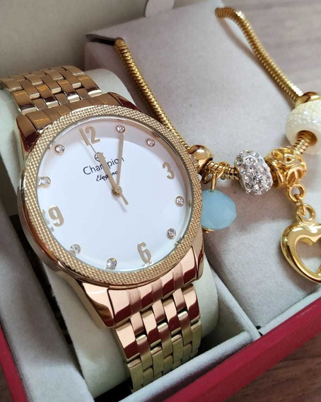 Relógio Banhado A Ouro Champion Cn26082s + Pulseira Nf-e