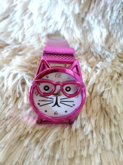 Relógio Feminino Gatinho ,não Acompanha Caixinha Kit 3 Peças