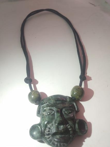 Collar De Jade Máscara Estilo Prehispánico Guerrero Maya