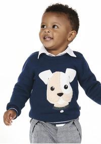 Blusão Infantil Bebê Menino Em Tricô Puc - 324ux2p Marinho