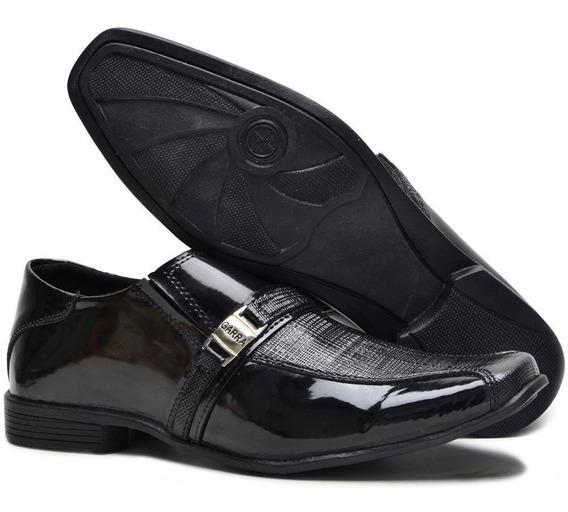 Sapato Social Masculino Em Verniz Brilhante Estilo Italiano