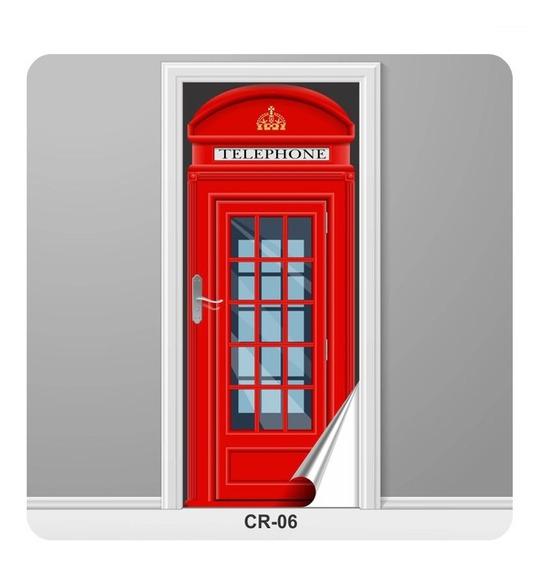Cabine Telefônica Londres Adesivo Para Porta Retrô Cr-06