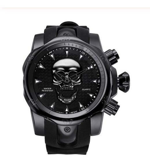 Relógio Masculino Caveira 3d Big Dial Aço E Borracha Barato