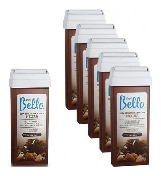 Kit 6 Cera Rolon Depilação Depil Bella Negra