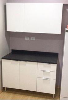 Armário Para Cozinha - Portas Brancas Com Tampo Preto