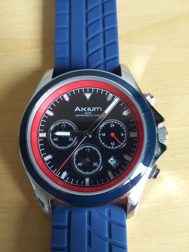 Relógio Akium Masculino Borracha Azul - G7085 Vd53 Blue