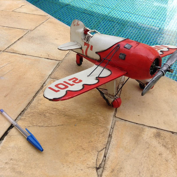 Avião Miniatura Artesanal Rústica - Decoração De Ambiente