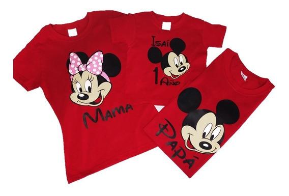3 Playeras Mickey Mouse Personalizas Mamá Papá Y Festejad@