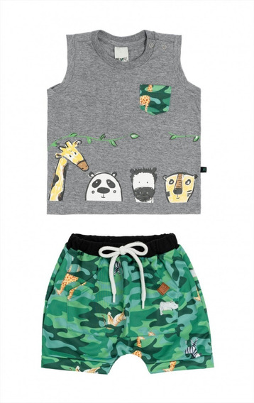 Conjunto De Bebê Menino Safari Jungle Regata E Shorts