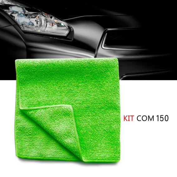 Kit 150 Pano Microfibra Automotiva Flanela Anti-risco Verde