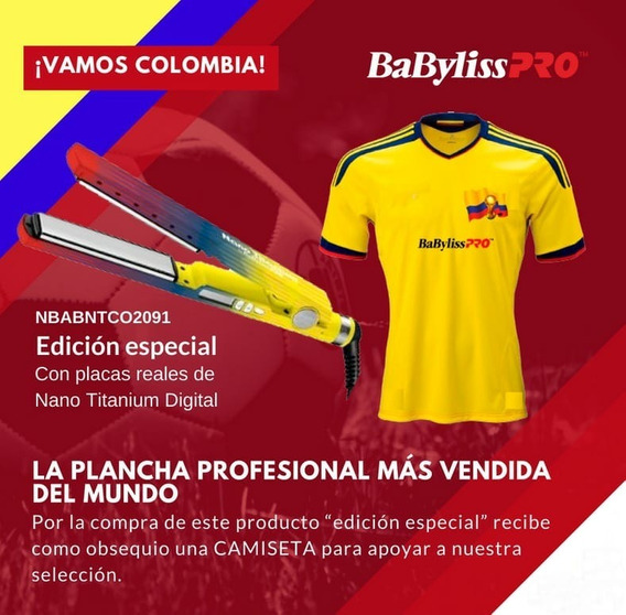 Plancha Digital Babyliss Pro Edicion Colombia. (+ Camiseta)
