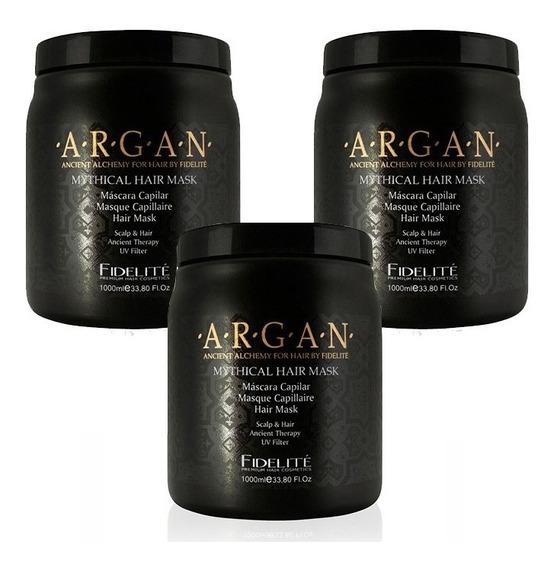 3 Mascaras Fidelite Mythical Hair Argán Baño De Crema 1 Kl