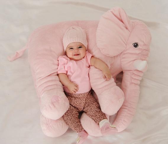 Almofada Travesseiro Elefante Pelúcia Bebê Dormir Rosa 80cm