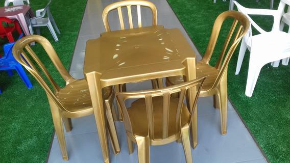 Jogo De Mesa Com 4 Cadeiras Dourado Goiânia Sup. 182 Klg