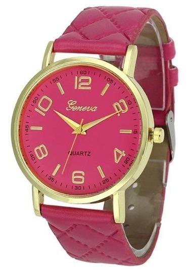 Relógio Geneva Rosa Couro Pu