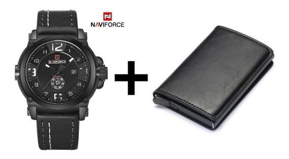 Relógio De Couro Naviforce + Carteira De Couro Pop Up