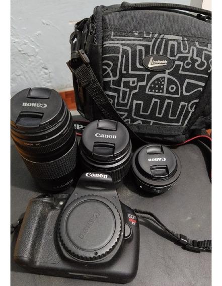 Canon T5+3 Lentes Canon+suporte+ Fundo+brinde(flash E Peças)