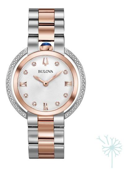 98r247 Reloj Bulova Rubaiyat Diamante Para Dama Plateado/ros