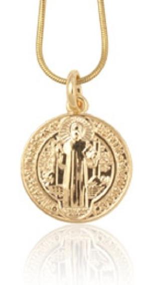 Medalha Folheado A Ouro Rommanel Imagem De São Bento 541054