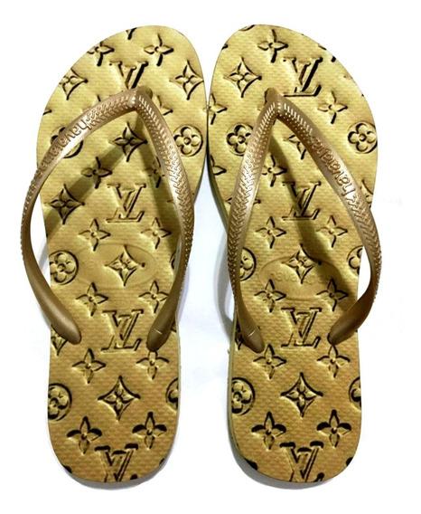 Chinelo Havaianas Personalizada Lv Dourada