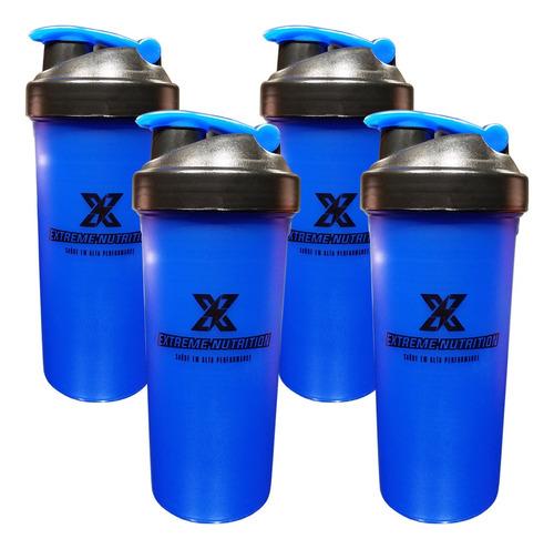 Imagem 1 de 1 de Kit Com 4 Coqueteleiras Azul 700ml Extreme Nutrition
