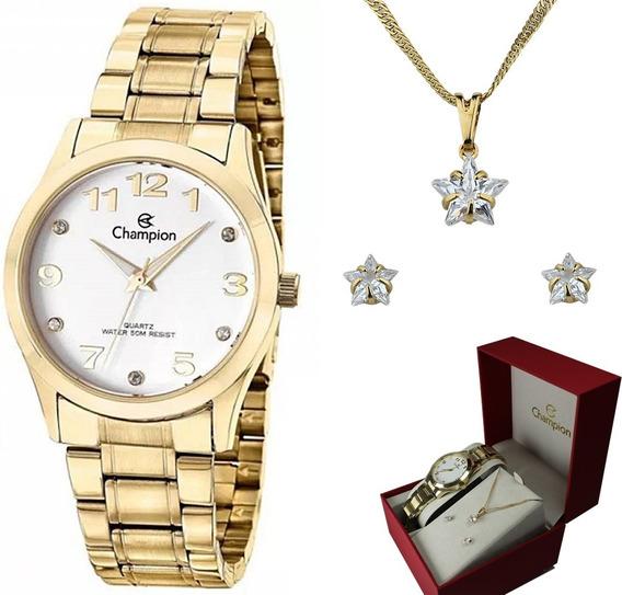 Kit Relógio Champion Elegance Feminino Cn29070w