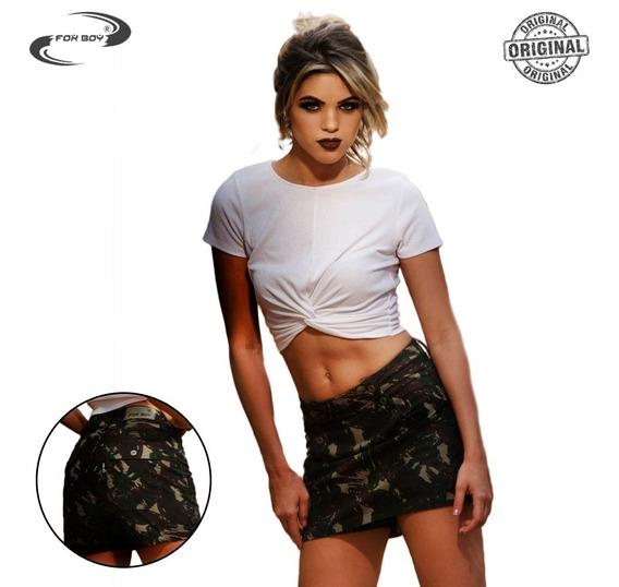 Short Tipo Saia Feminino Camuflado Exército Curto Fashion