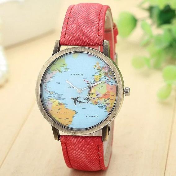 Relógio Viaje Viajar O Mundo - Cores Variadas