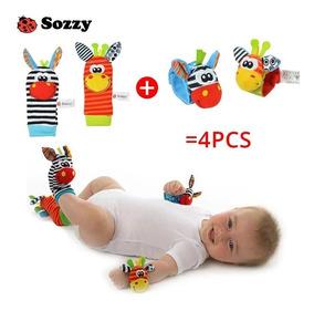 Kit 4 Pcs Chocalho Sozzy Pulseira Meia Divertida Do Bebê