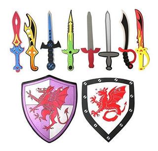 Juego De 10 Espadas De Espuma Y Escudo De Ninja Warrior Jueg