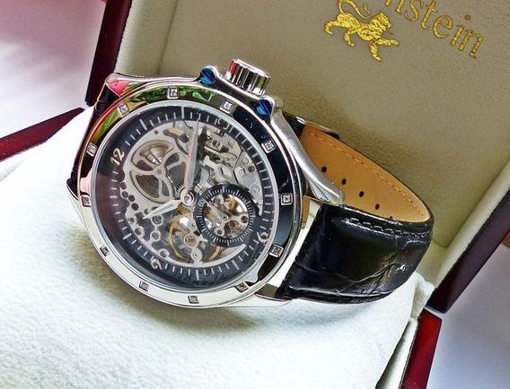 Relógio Automático Skeleton Loewenstein Original Na Caixa.