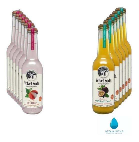 Velvet Soda Mix 6 Lychee Y 6 Maracuya Caja C/12 Botellas