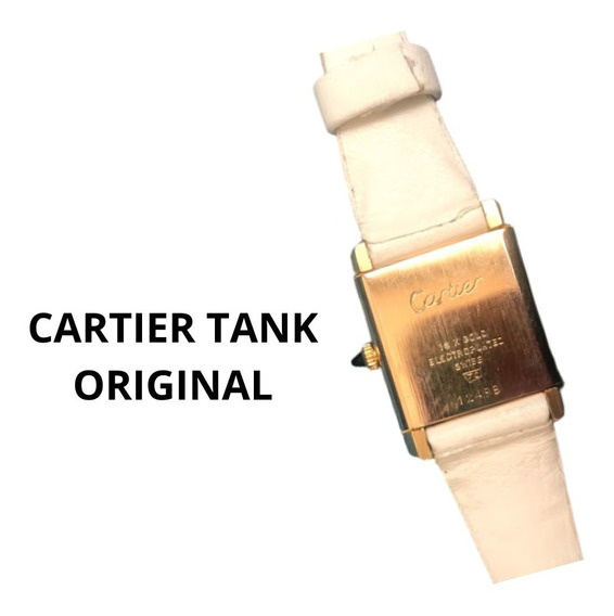 Cartier Tank Relogio Quadrado E Couro Swiss Original Lindo