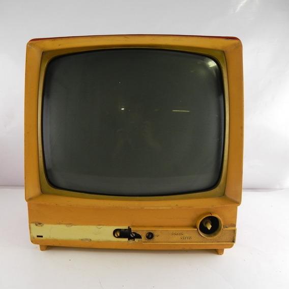 Tv Antiga Philco Solid State Vermelho Vintage Decoração C/ Defeito